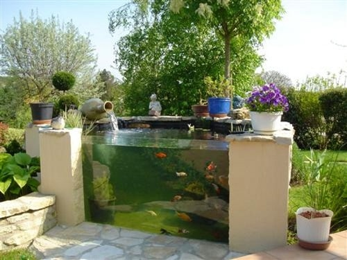 20 most clever above ground koi pond with window ideas for Round koi pond