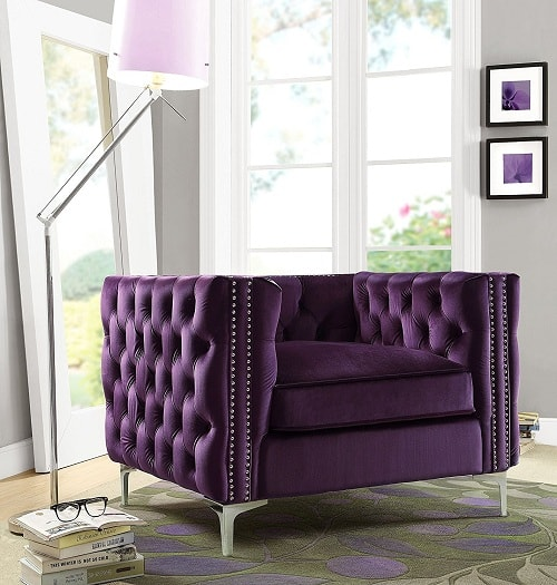 Best Selling Luxurious Purple Accent Chairs Living Room On