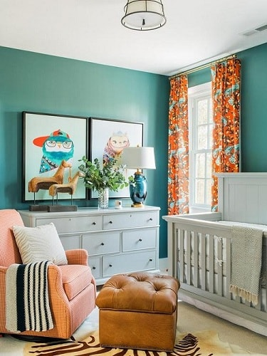 Teal and Orange Living Room
