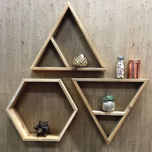 diy floating triangular shelves 1