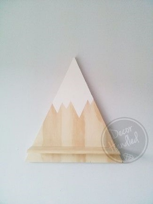 diy floating triangular shelves 12