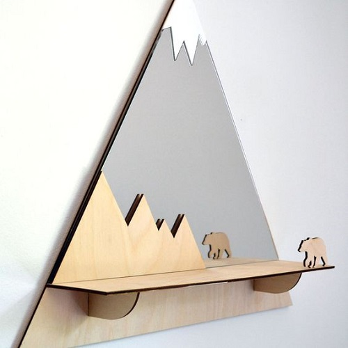 diy floating triangular shelves 13