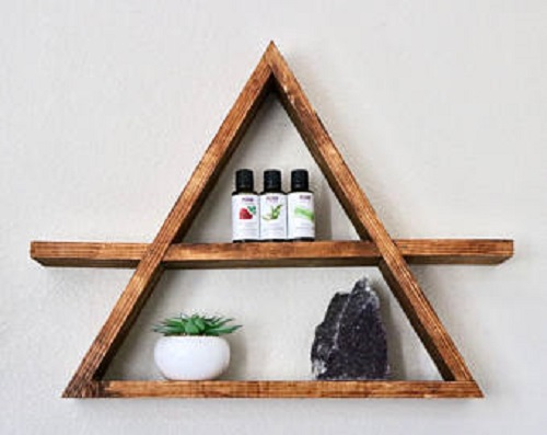 diy floating triangular shelves 14