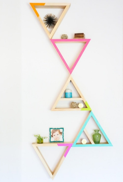diy floating triangular shelves 17