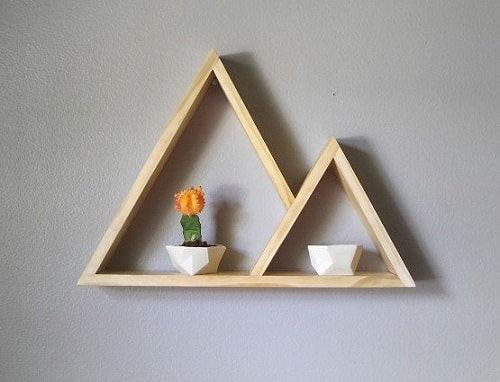 30 most clever diy floating triangular shelves that you for Mountain shelf diy