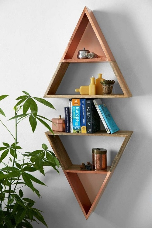 diy floating triangular shelves 21