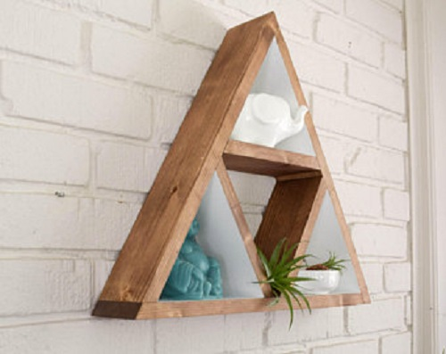 diy floating triangular shelves 23