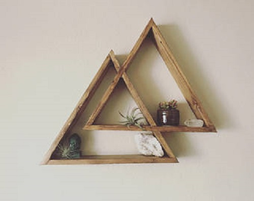 diy floating triangular shelves 29