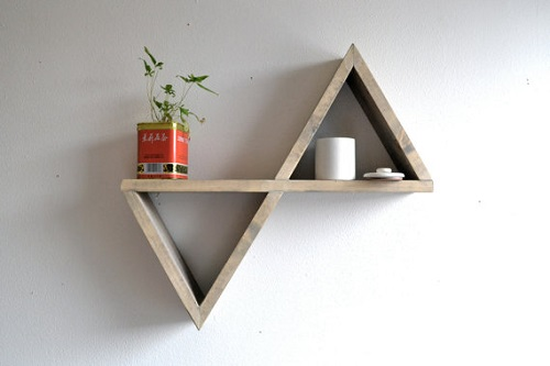 diy floating triangular shelves 3