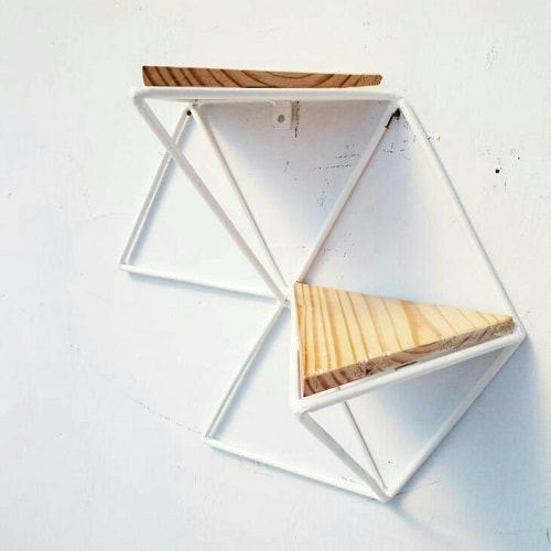 diy floating triangular shelves 33