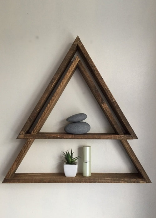diy floating triangular shelves 36