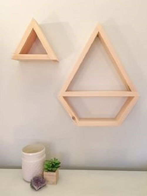 diy floating triangular shelves 37