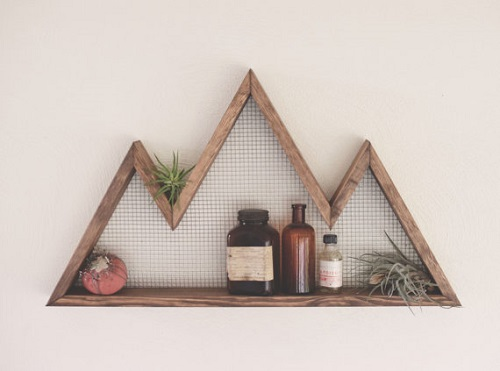 diy floating triangular shelves 4