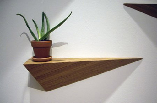 diy floating triangular shelves 5