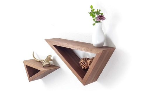 diy floating triangular shelves 6