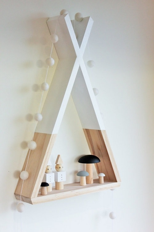 diy floating triangular shelves 8