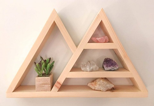 diy floating triangular shelves 9