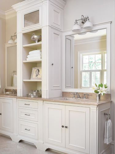 25 most stunning bathroom counter storage tower designs - Bathroom vanities with storage towers ...