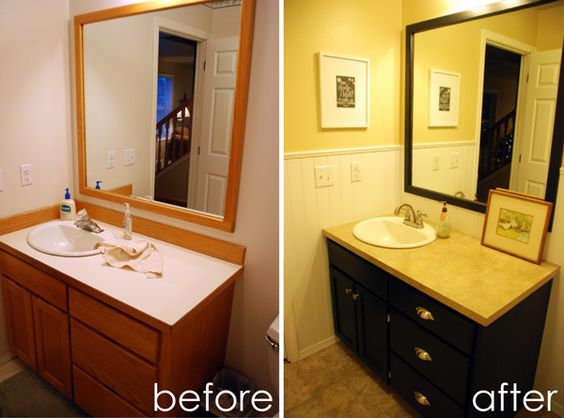 Painting Bathroom Vanity Before And After 1-min