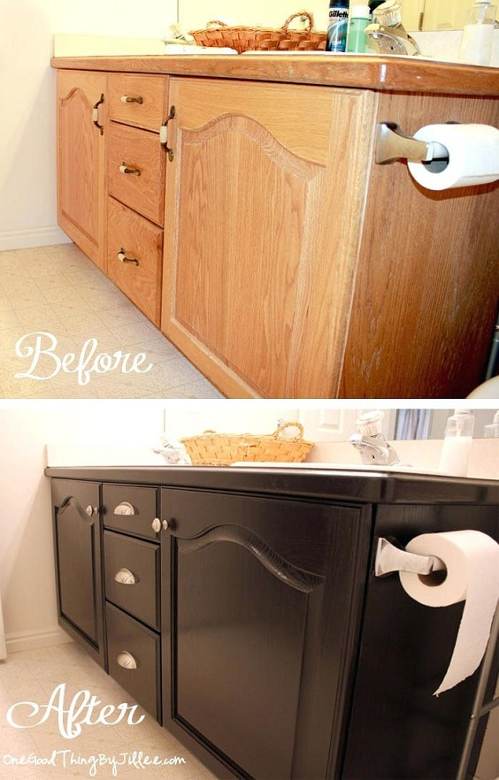 Painting Bathroom Vanity Before And After 5-min