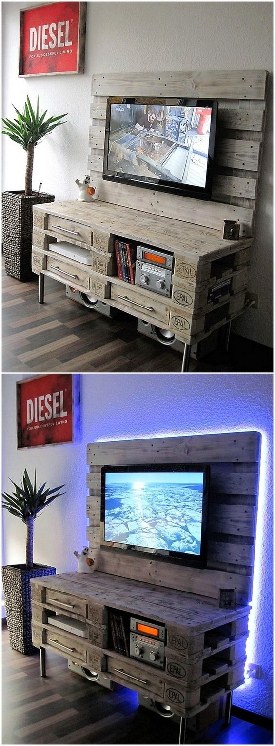 diy wood pallet tv console 15-min