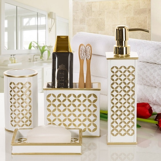 white and gold bathroom accessories 2-min