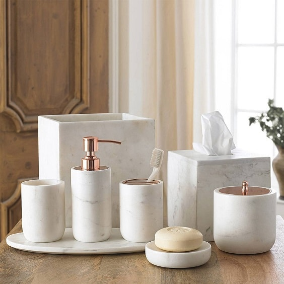 White Marble Bathroom Accessories 5-min