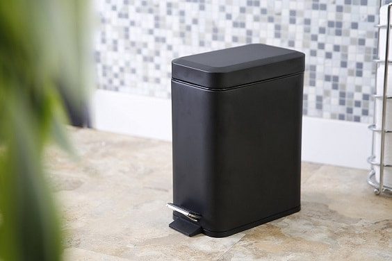 black bathroom trash can 5-min