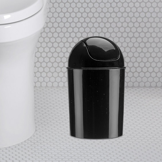 black bathroom trash can 8-min