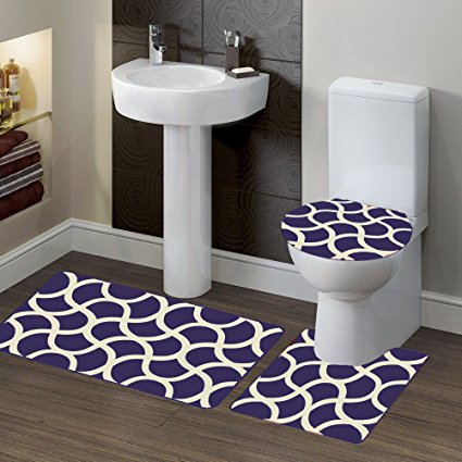 Navy Blue 3 Piece Premium Polypropylene Bath Rugs Set with Blocks Design