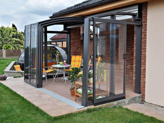 small patio with wall glass ideas 13