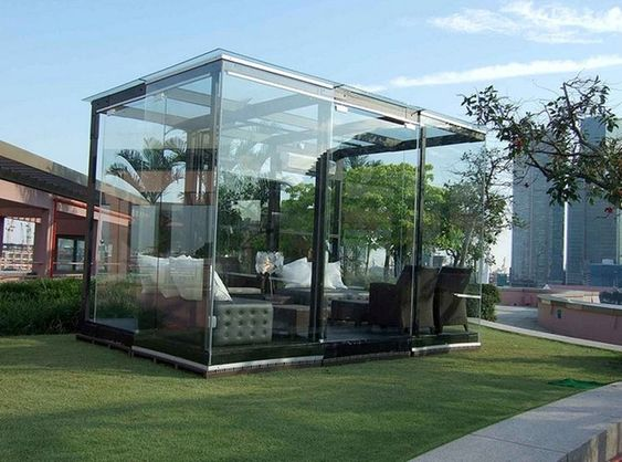 small patio with wall glass ideas 15