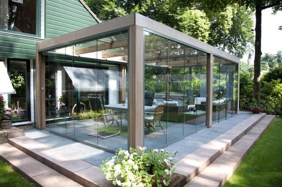 small patio with wall glass ideas 18