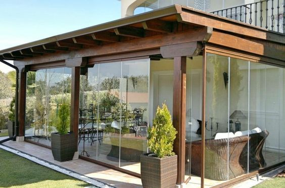 small patio with wall glass ideas 21