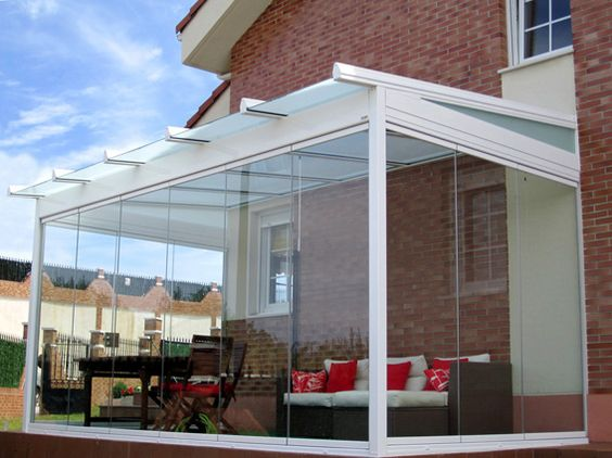 small patio with wall glass ideas 23
