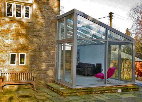 small patio with glass walls ideas 26