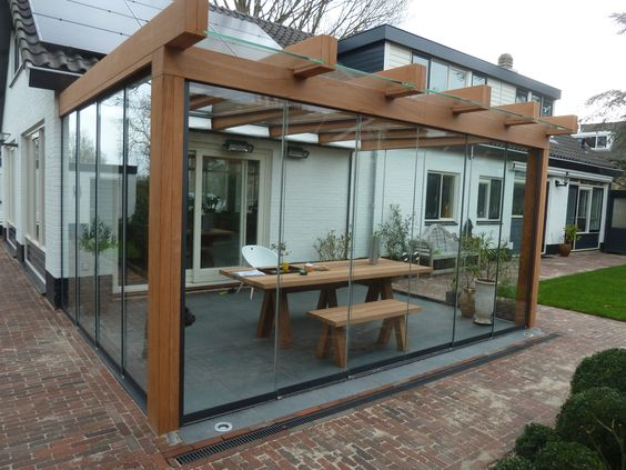 small patio with wall glass ideas 6