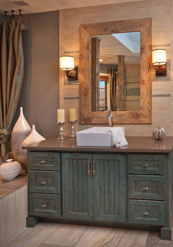 Gorgeous FarmhouseStyle Weathered Wood Bathroom Vanity Ideas - Weathered wood bathroom vanity