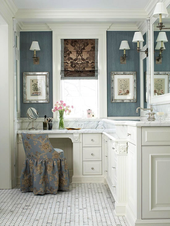 Bathroom Vanity with Makeup Counter Ideas 2-min