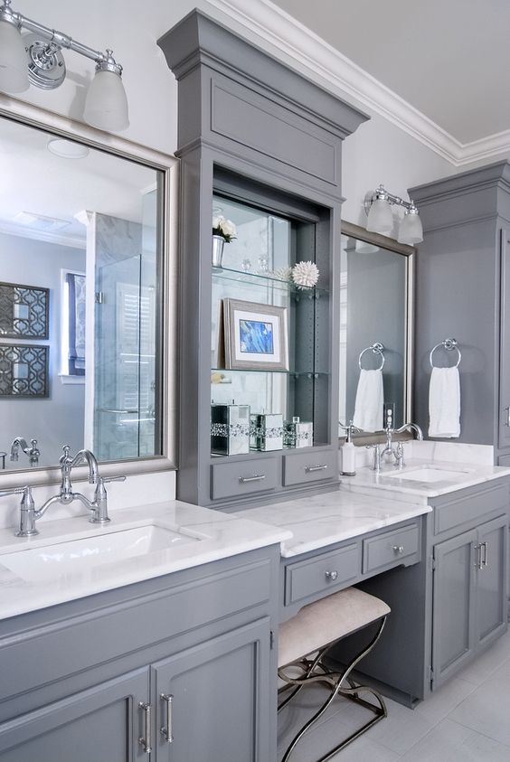 Bathroom Vanity with Makeup Counter Ideas 21-min