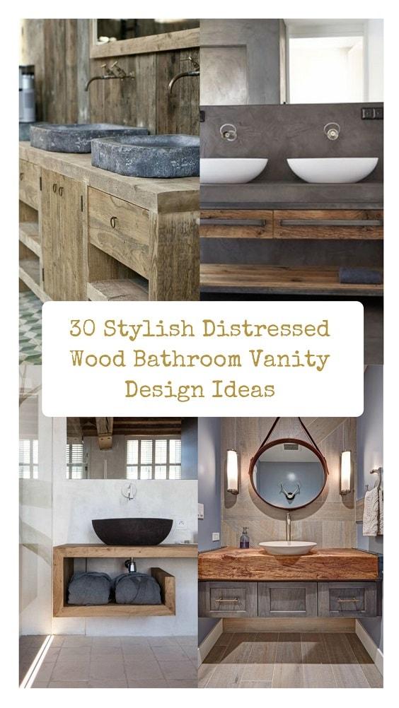 Distressed Wood Bathroom Vanity-min