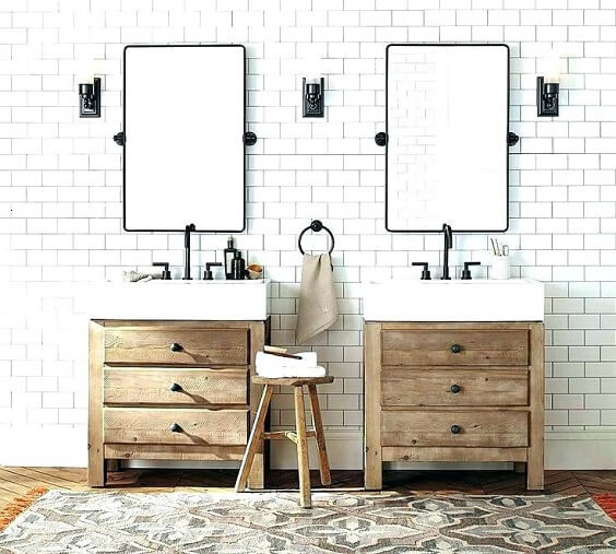 distressed wood bathroom vanity 9