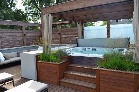 hot tub landscaping 9-min