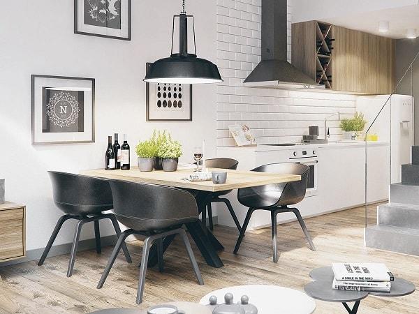 monochrome dining room 2-min