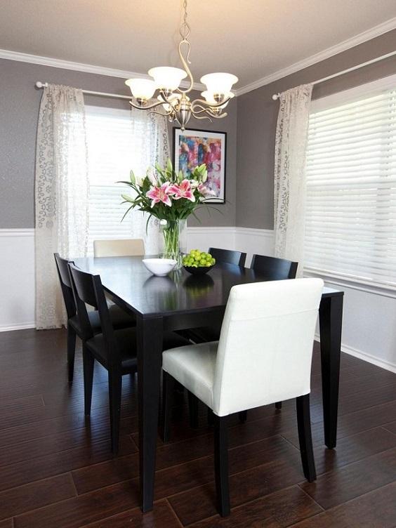 monochrome dining room 22