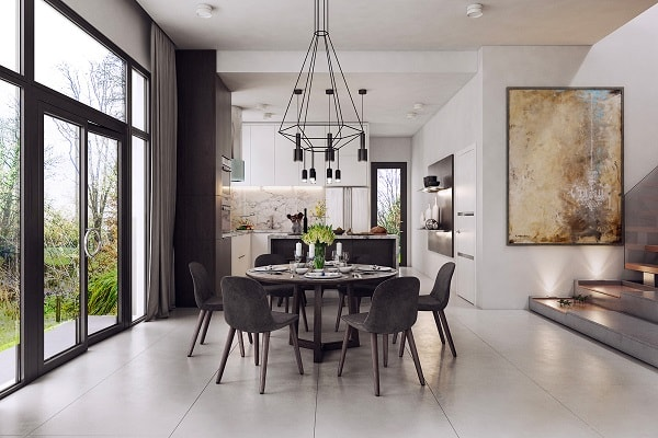 monochrome dining room 6-min