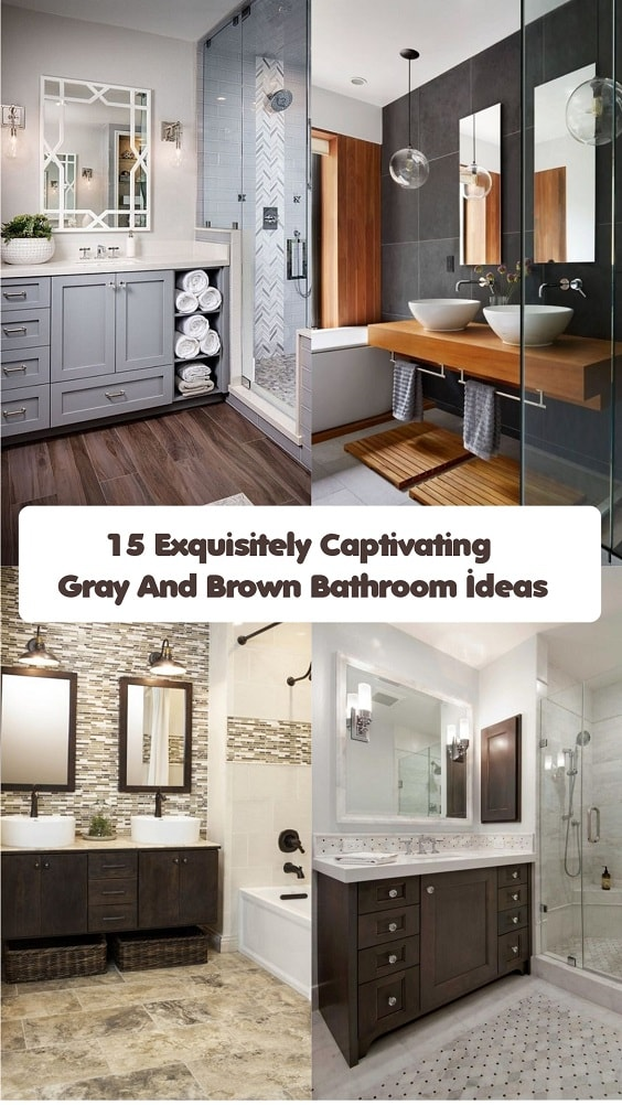 captivating gray white bathroom remodel | 15 Exquisitely Captivating Gray And Brown Bathroom Ideas