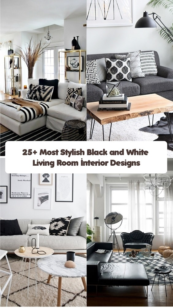 Black and White Living Room-min