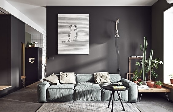 black and white living room 8-min