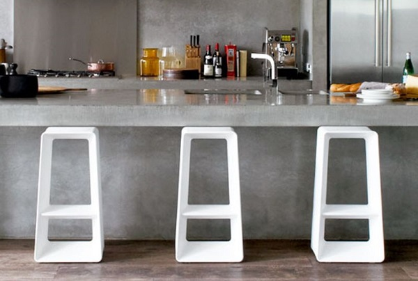 concrete kitchen feature
